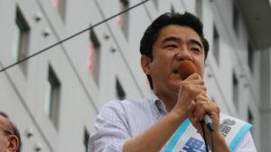 最後の総決起大会で訴える野上浩太郎