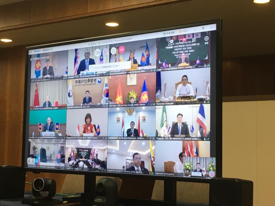 角国大臣が映し出されたスクリーン